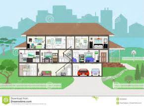 Rooms In A House Cutaway House With Highly Detailed Rooms Eps8 Royalty Free