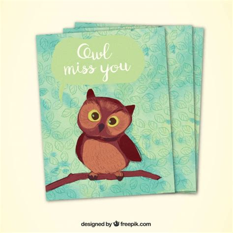greeting card template with cute owl vector free download decorative greeting card with cute owl vector free download