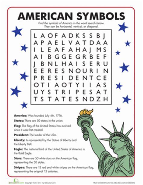 american symbols word search worksheet education com