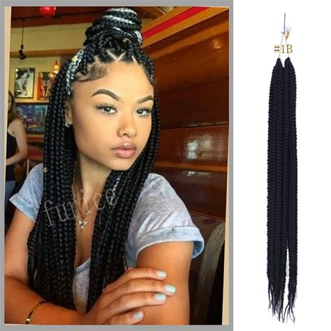 medium box braids with human hair crochet box braids hair brown synthetic braiding