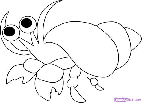 easy crab coloring page how to draw a hermit crab step by step sea animals