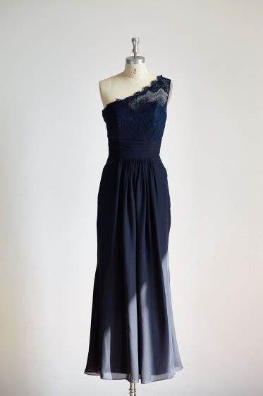 shoulder navy blue lace chiffon long wedding