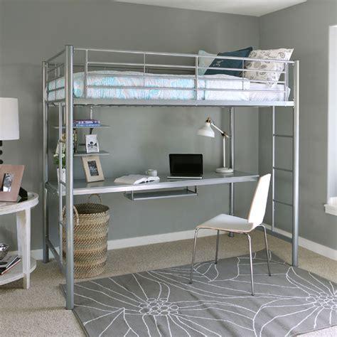 metal twin loft bed walker edison metal twin loft bed with workstation silver btozsl