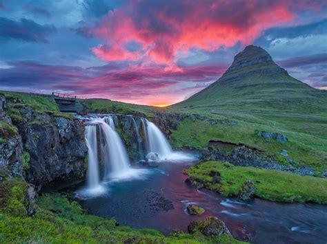 beautiful mountain river  waterfall coast rock green