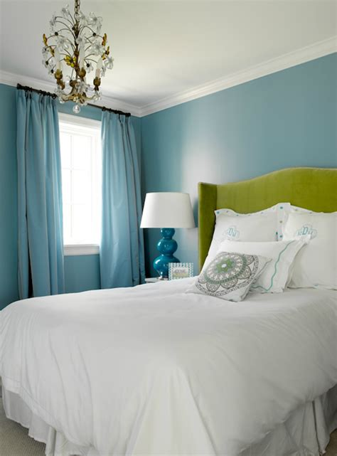 blue and green bedroom turquoise drapes contemporary bedroom graciela rutkowski interiors