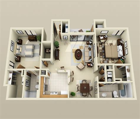 Two Bedrooms by 50 Two Quot 2 Quot Bedroom Apartment House Plans Architecture