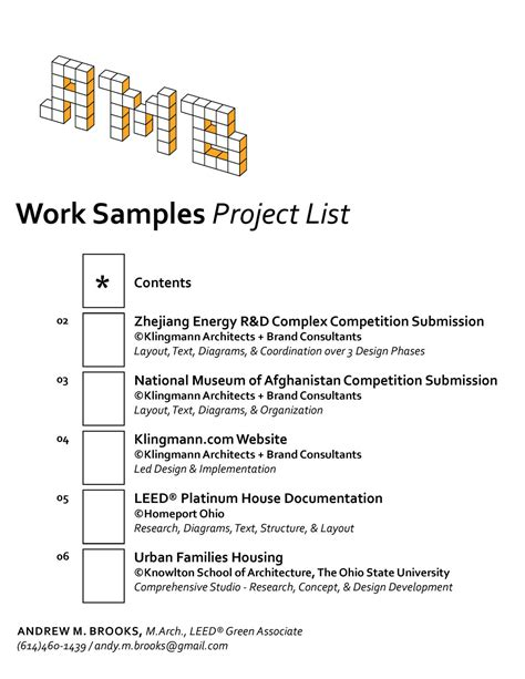 Resume Employment Goals Examples by Work Samples Andrew Brooks Archinect