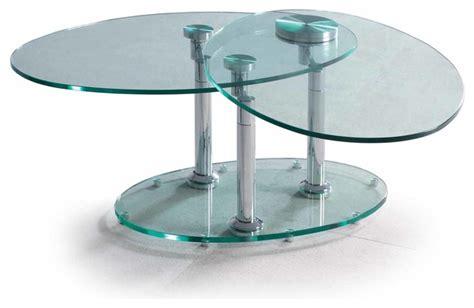 swivel glass coffee table oval swivel clear glass and chrome coffee table orbital