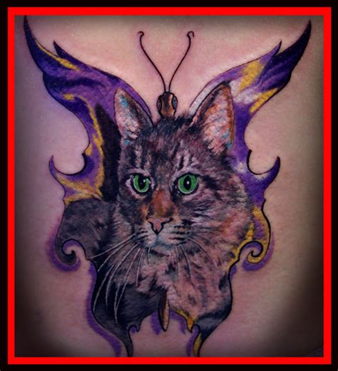cat tattoo with butterfly forbidden images tattoo art studio tattoos custom