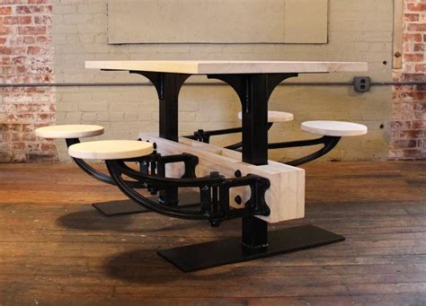 cafeteria tables with attached seating bespoke dining table w attached seating kitchen