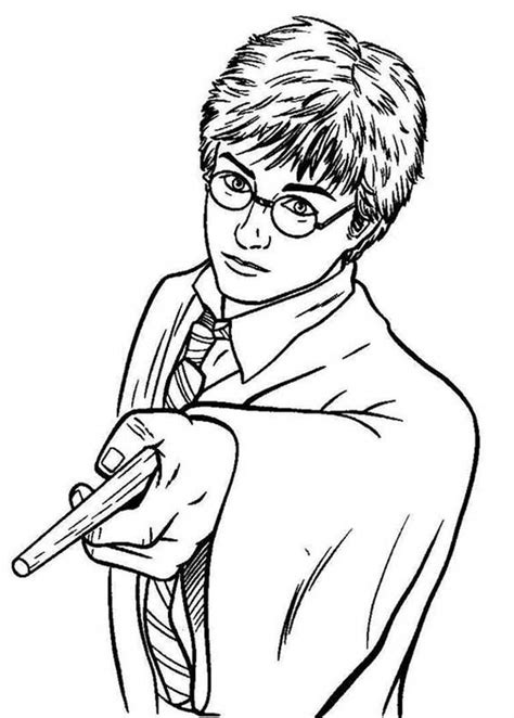 coloring pages of harry potter wands harry potter pointing his magic wand coloring page
