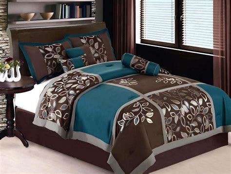 brown and turquoise comforter 7 pieces queen size comforter set embroidery floral leaf