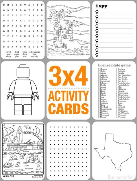 printable road trip activities 3x4 activity cards for kids with free printables legos