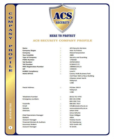 security company profile template 25 company profile sles pdf sle templates
