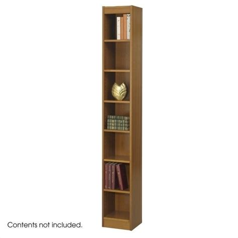 10 Inch Wide Bookshelf 12 Inch Wide 7 Shelf Veneer Baby Bookcase In Medium Oak