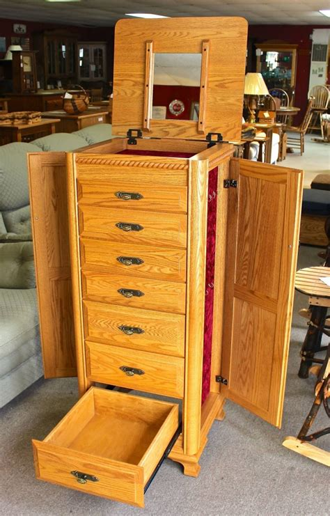 Solid Cherry Jewelry Armoire Deluxe Jewelry Armoire With Berkshire Trim Amish