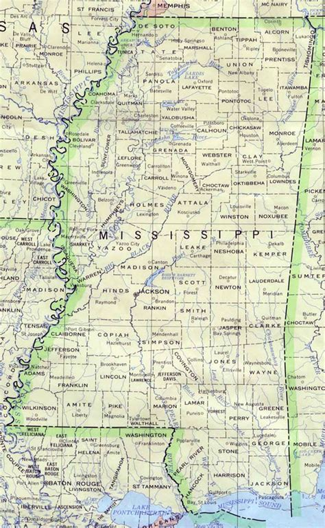 map of usa mississippi detailed map of mississippi state mississippi state
