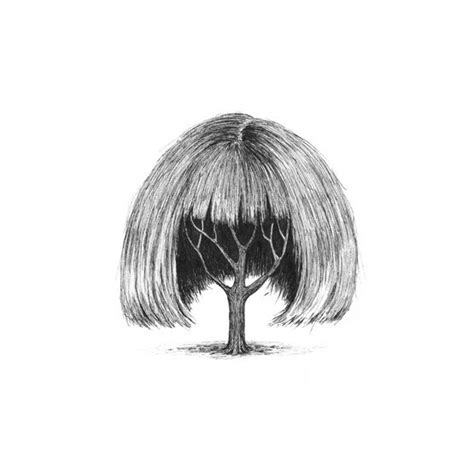 drawing of bob hair a series of illustrations featuring trees with human like