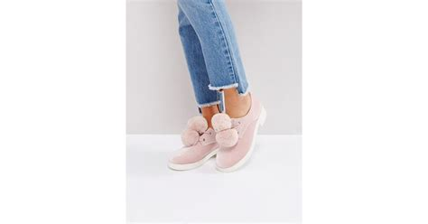 Marsmellow Flat Shoes asos marshmallow pom pom flat shoes in pink lyst