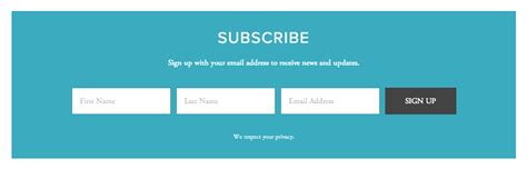 subscribe page design using the newsletter block help