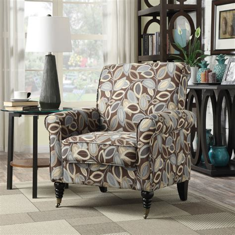 leaf pattern accent chair portfolio hyde brown modern leaf pattern arm chair