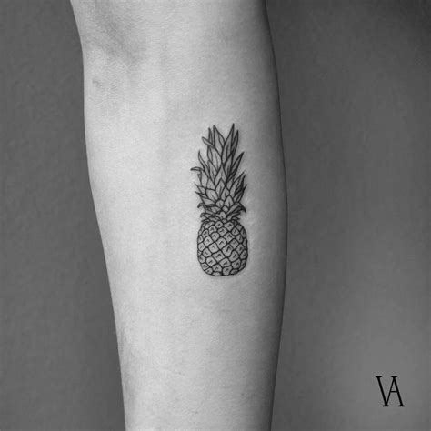 fine tattoo designs line style pineapple on the right inner