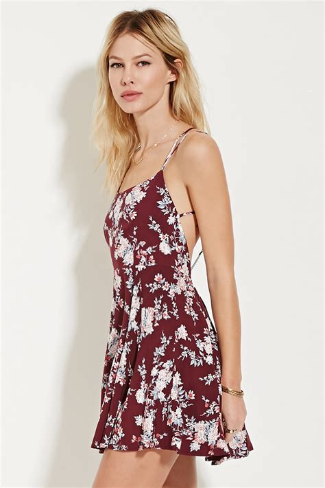 Forever 21 Mini Dress Pink forever 21 strappy floral print mini dress in pink lyst