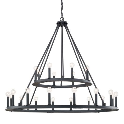 Capital Lighting 4910BI Black Iron Pearson 24 Light 2 Tier Chandelier LightingDirect.com