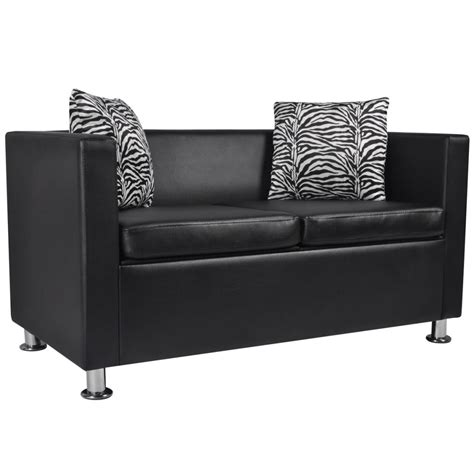 black leather 2 seater sofa artificial leather 2 seater sofa black vidaxl