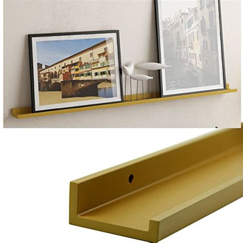 modern brown gold color floating wood ledge for photos