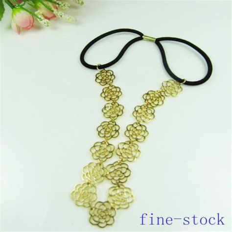 Lovely Metal Headband And Necklace new lovely chain hollow out flower hair band