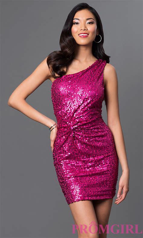 Pink Fuchsia Dress sequin one shoulder pink dresses promgirl