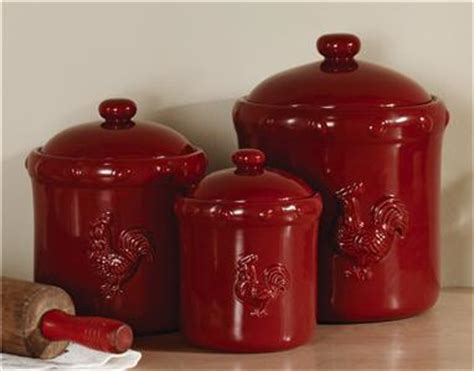 red kitchen canister sets ceramic country decor rustic red rooster ceramic kitchen canister