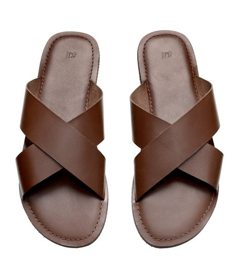 h and m sandals h m leather sandals in brown for lyst