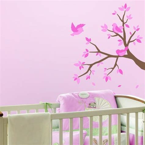 Pink Wall Decals For Nursery Pink Birds And Tree Nursery Wall Decals Rooms For