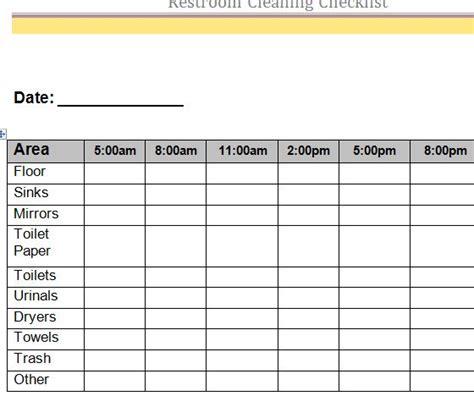 bathroom cleaning schedule sle excel checklist template formal career planning