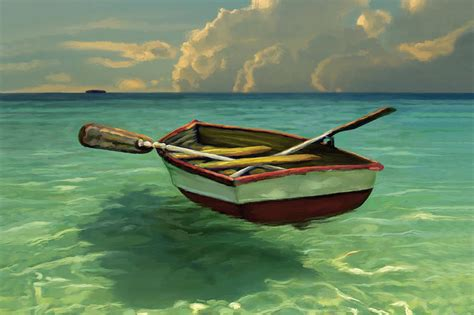 boats in water boat in clear water painting by david van hulst