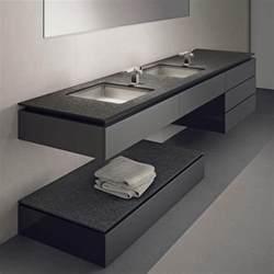 Supérieur Plan Vasque Bois Salle De Bain #2: Plan-de-travail-ceramique-aspect-granit-noir-meuble-vasque-suspendu.jpg