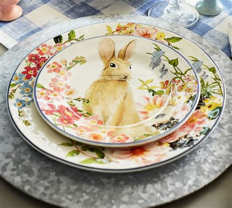 Pottery Barn Dining Room Tables Floral Bunny Salad Plate Mixed Set Of 4 Pottery Barn
