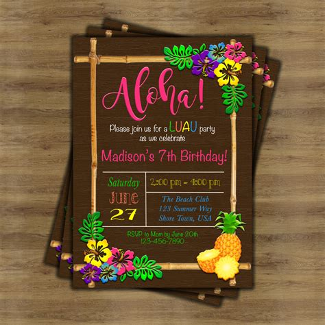 luau invitation luau birthday invitation hawaiian