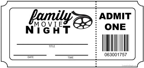 printable movie night tickets family movie night invitation tickets somewhat simple