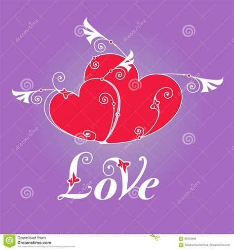 valentines day card design hearts vector stock vector two heart with wings for design template stock vector