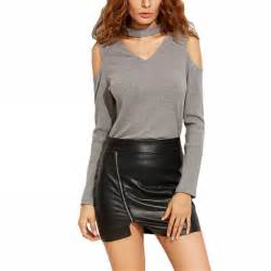 Sleeve Cold Shoulder Shirt womens cold shoulder chocker collar neck cut out