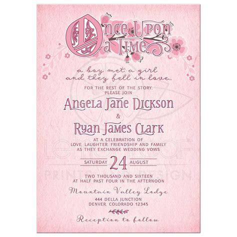 wedding invitation time wording whimsical tale floral wedding invitation pink and