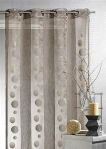voilage organza ronds et rayures moka taupe