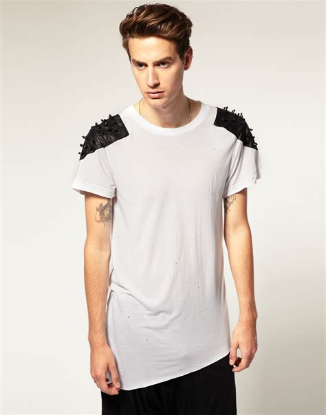 lyst horace leather shoulders tshirt with studs in white for