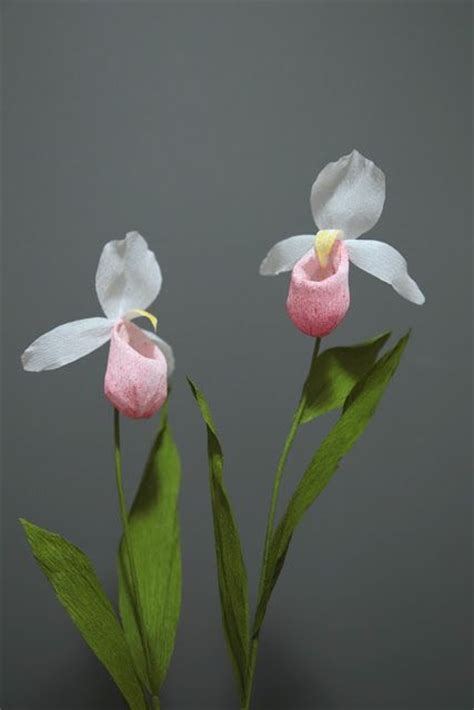 orquidea de papel crepe crepe paper flower lady slipper orchid handcrafted by