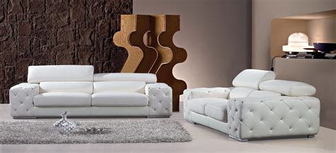 Design Ideas For White Tufted Sofa Divani Casa Corinne Modern Tufted Leather Sofa Set With Headrests And Crystals