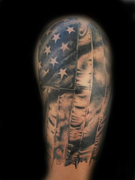 us flag n eagle tattoo on upper arm