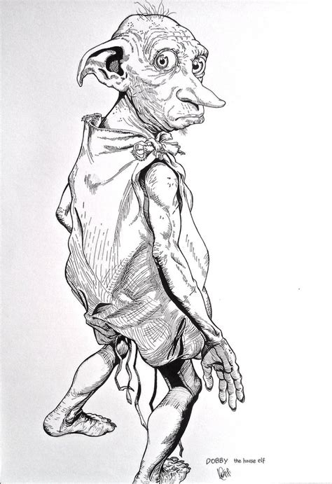 harry potter coloring pages of dobby dobby the free house by maverickasim on deviantart